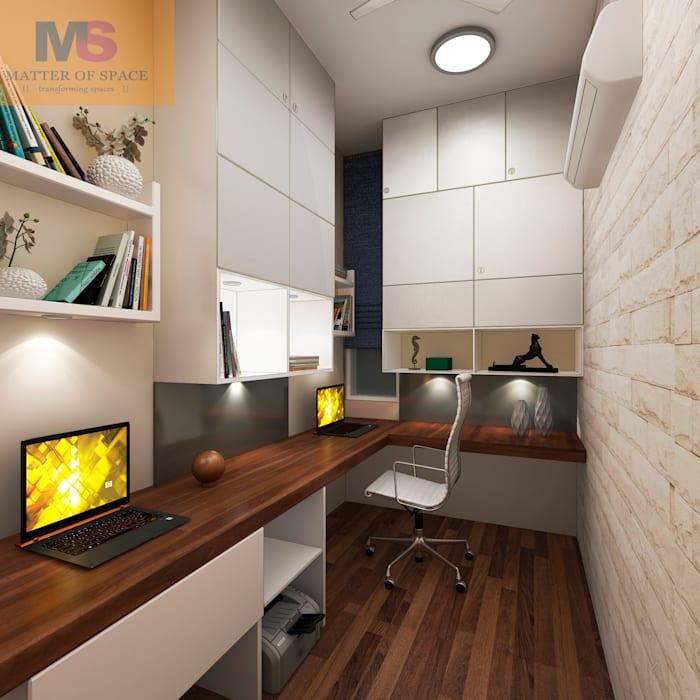 Toilet turn to Library:  Study/office by Matter Of Space Pvt. Ltd.