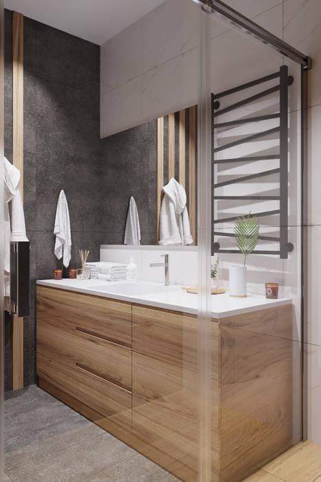Квартира 48 кв.м на Волоколамском шоссе. Ванная комната в стиле минимализм от Студия архитектуры и дизайна Дарьи Ельниковой Минимализм