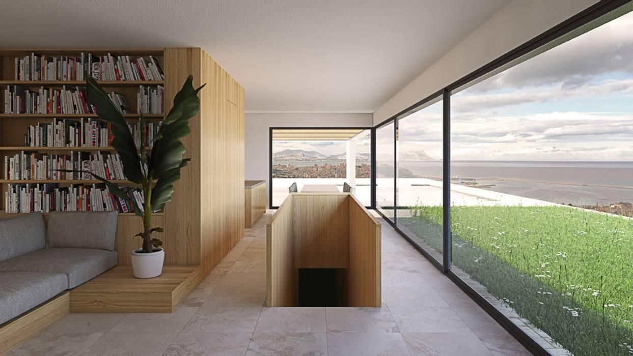 Wooden staircase ALESSIO LO BELLO ARCHITETTO a Palermo Modern Living Room Wood White