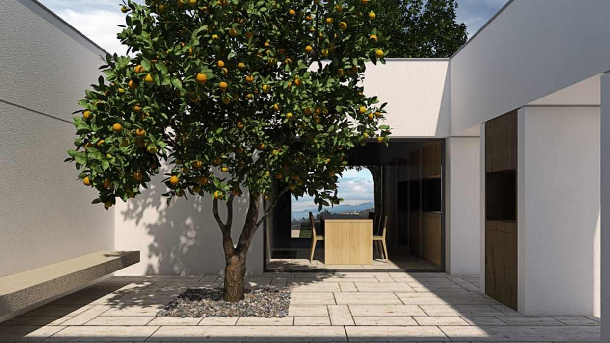patio con albero ALESSIO LO BELLO ARCHITETTO a Palermo Balcone, Veranda & Terrazza in stile mediterraneo