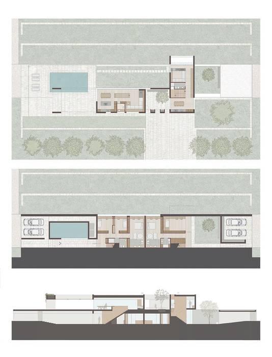 Layout of the Villa Casas estilo moderno: ideas, arquitectura e imágenes de ALESSIO LO BELLO ARCHITETTO a Palermo Moderno