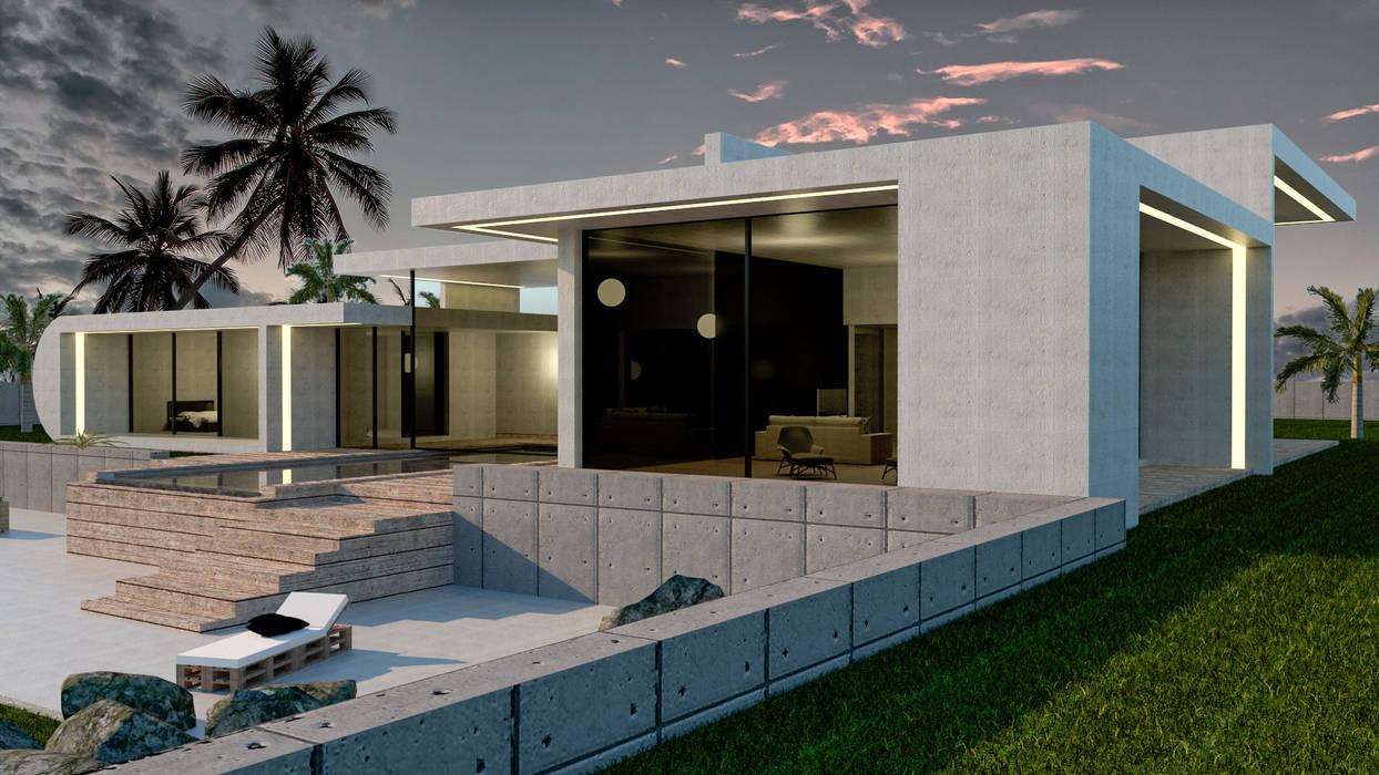 Casa de hormigón en Madrid modelo Marbella Cristalera Salón: Casas prefabricadas de estilo  de Trenta Casas Prefabricadas de Hormigón en Madrid