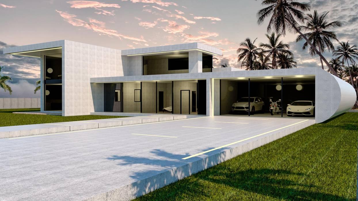 Casa de hormigón en Madrid modelo Marbella Garaje: Casas prefabricadas de estilo  de Trenta Casas Prefabricadas de Hormigón en Madrid