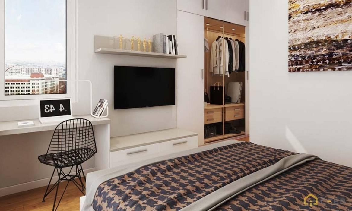 thiết kế Nội thất Căn hộ hiện đại sang trọng Cityland gò vấp:  Phòng ngủ nhỏ by CÔNG TY THIẾT KẾ NHÀ ĐẸP SANG TRỌNG