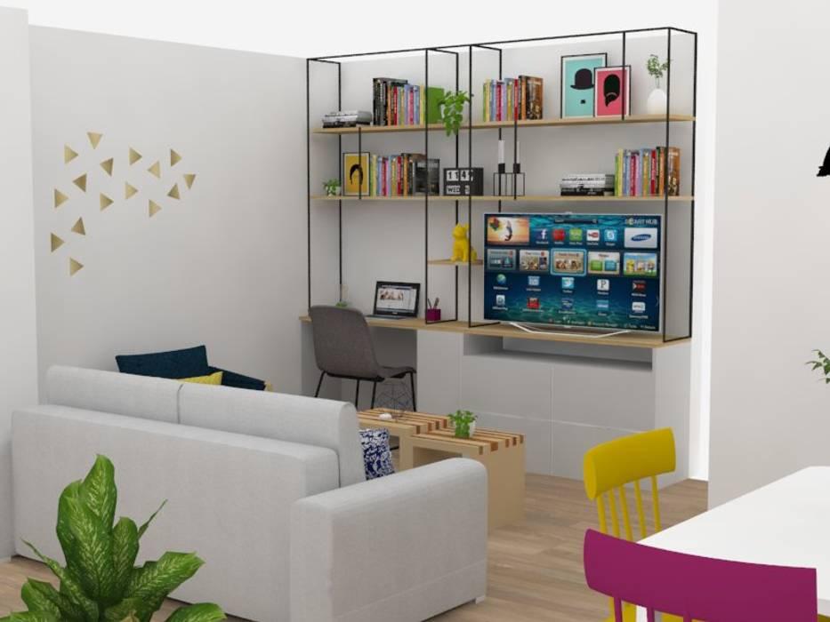 Diseño sala-comedor para apartamento familiar en Pilarica – Medellín. Estudios y despachos de estilo ecléctico de Decó ambientes a la medida Ecléctico