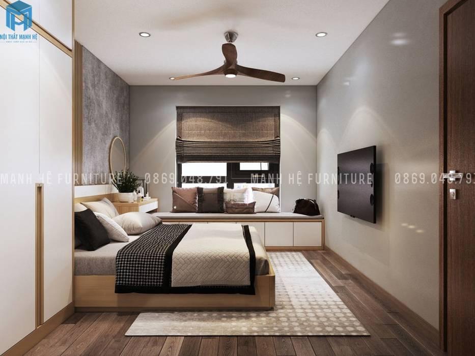 Kleines Schlafzimmer von Công ty TNHH Nội Thất Mạnh Hệ, Modern Sandstein