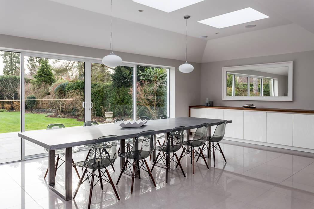 Linear kitchen, bright and light, grey kitchen, bespoke, hand-made, hertfordshire, by John Ladbury and Company Minimalist