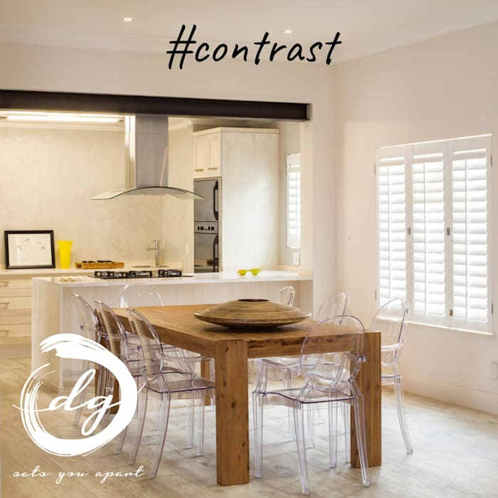 Contrast:  Dining room by Deborah Garth Interior Design International (Pty)Ltd, Minimalist