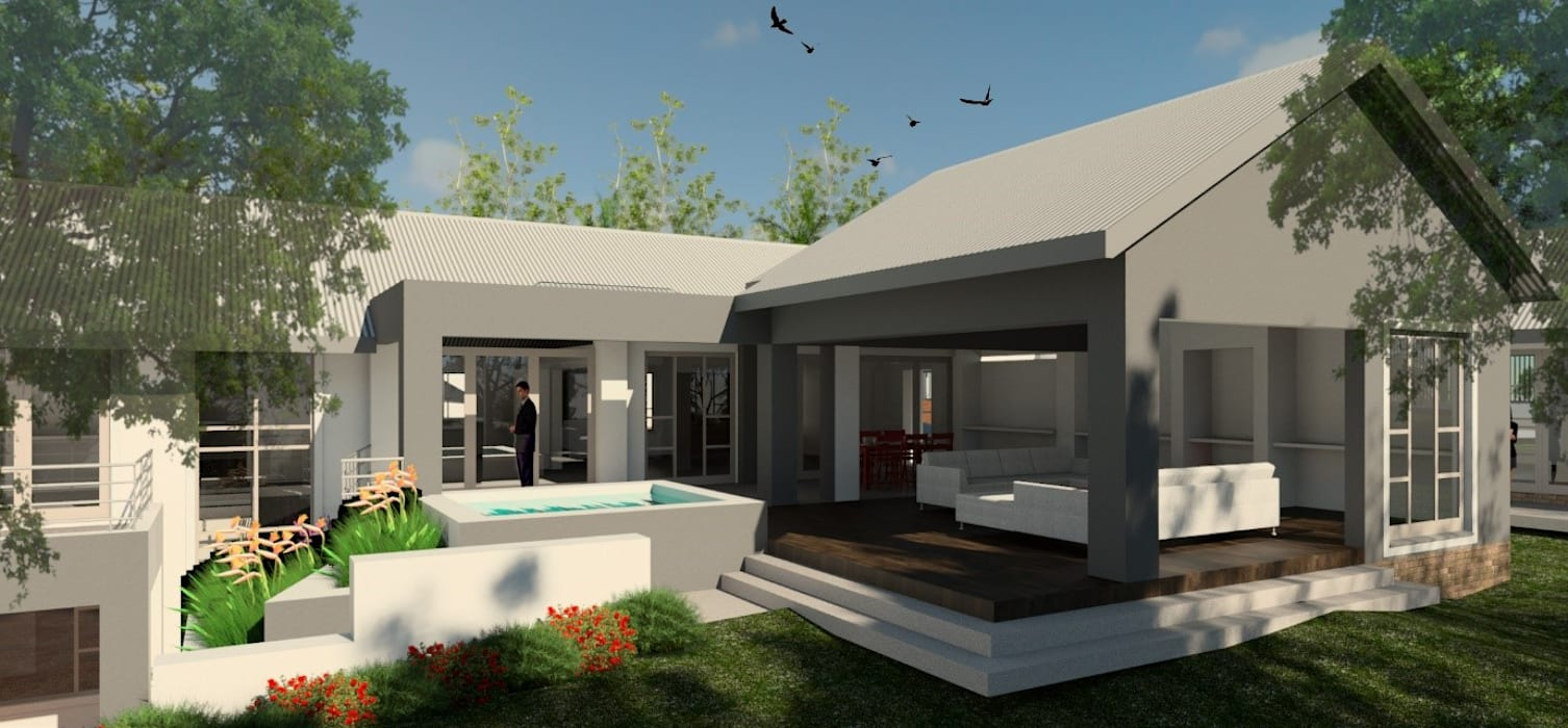 Exterior view – entertainment area (after):  Houses by Nuclei Lifestyle Design,