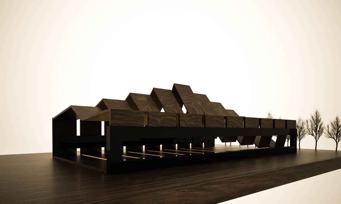 Roofing de 3D Render Minimalista Madera Acabado en madera
