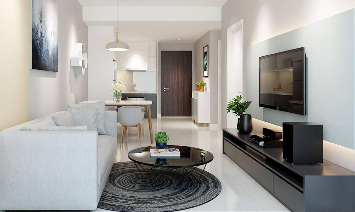 thiết kế nội thất phòng khách căn hộ Novaland bởi nội thất căn hộ hiện đại CEEB Hiện đại