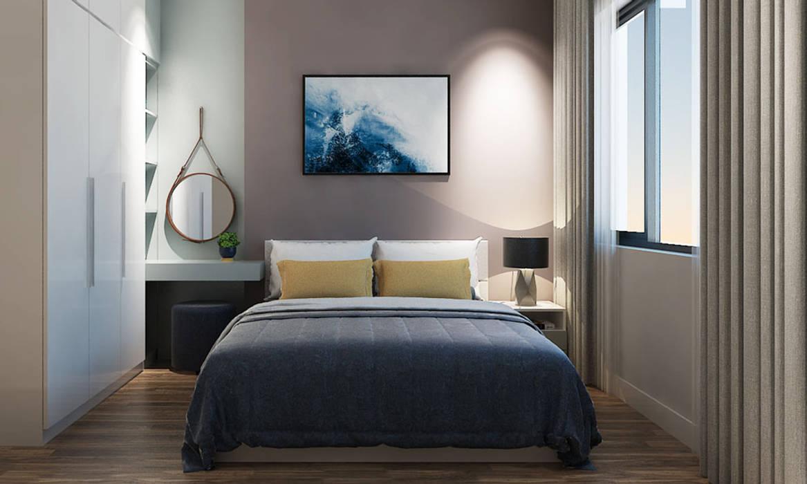 thiết kế nội thất phòng ngủ căn hộ Novaland:  Phòng ngủ by nội thất căn hộ hiện đại CEEB