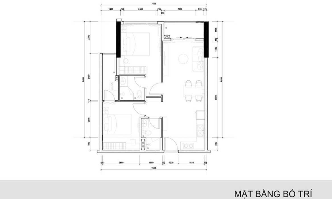 mặt bằng thiết kế nội thất  căn hộ Novaland: hiện đại  by nội thất căn hộ hiện đại CEEB, Hiện đại