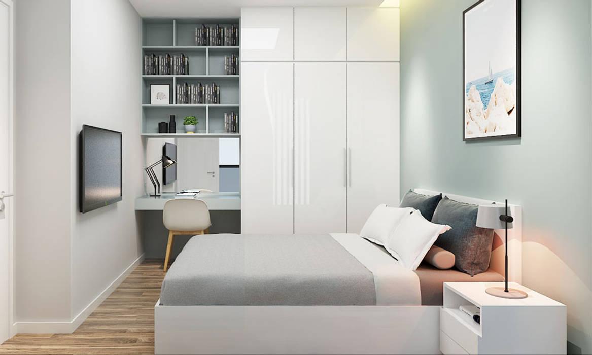 thiết kế nội thất phòng ngủ căn hộ Novaland Phòng ngủ phong cách hiện đại bởi nội thất căn hộ hiện đại CEEB Hiện đại