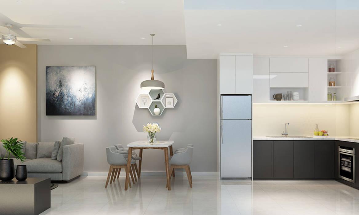 thiết kế nội thất phòng ăn căn hộ Novaland Phòng ăn phong cách hiện đại bởi nội thất căn hộ hiện đại CEEB Hiện đại