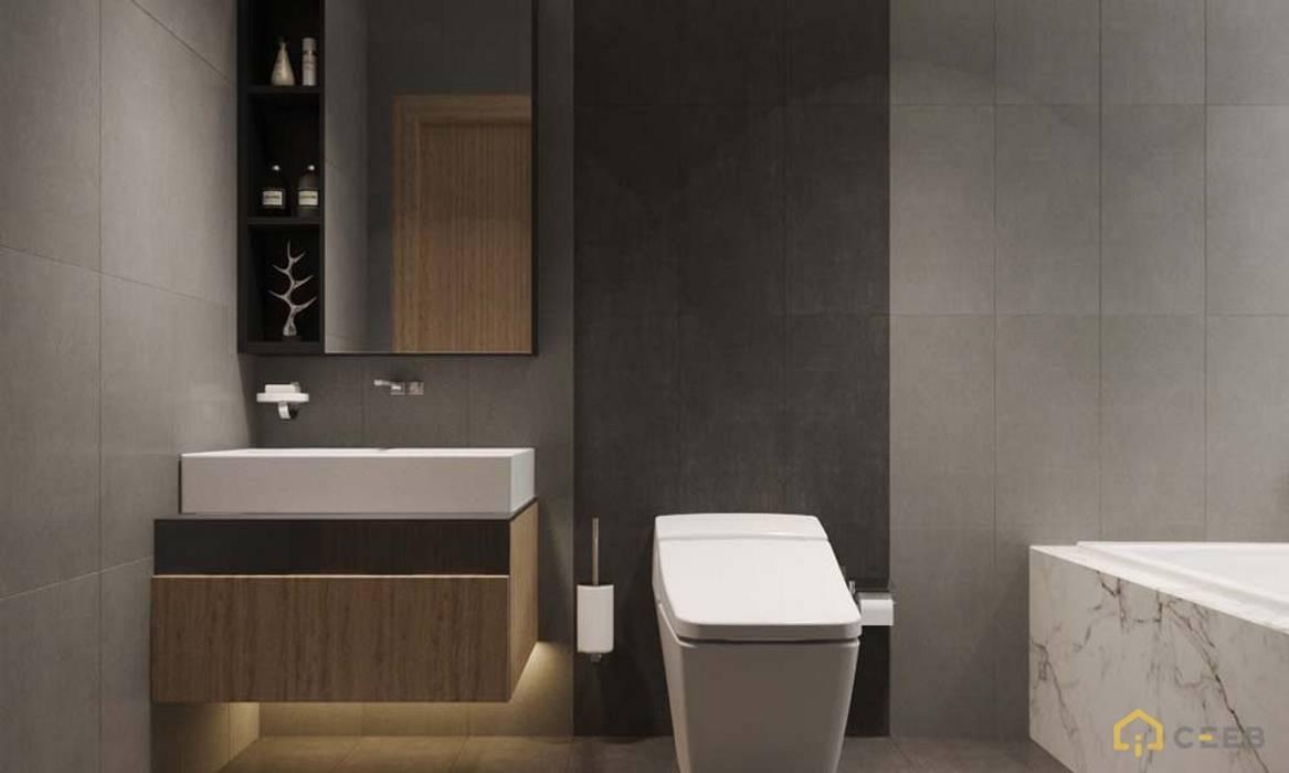 thiết kế nội thất phòng tắm căn hộ hiện đại cityland:  Phòng tắm by nội thất căn hộ hiện đại CEEB
