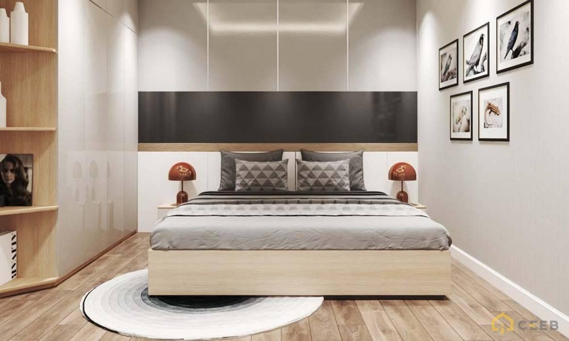 thiết kế nội thất phòng ngủ căn hộ hiện đại cityland Phòng ngủ phong cách hiện đại bởi nội thất căn hộ hiện đại CEEB Hiện đại