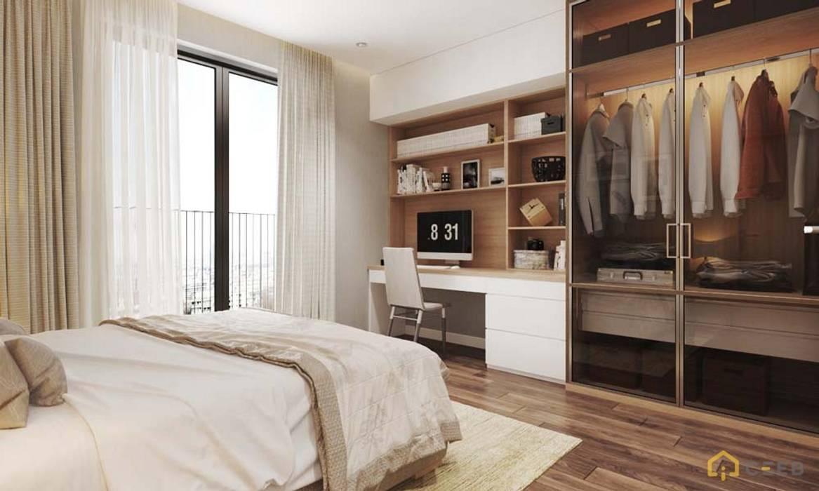 thiết kế nội thất phòng ngủ căn hộ hiện đại cityland:  Phòng ngủ by nội thất căn hộ hiện đại CEEB