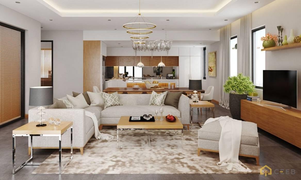 thiết kế nội thất phòng khách căn hộ hiện đại cityland bởi nội thất căn hộ hiện đại CEEB Hiện đại