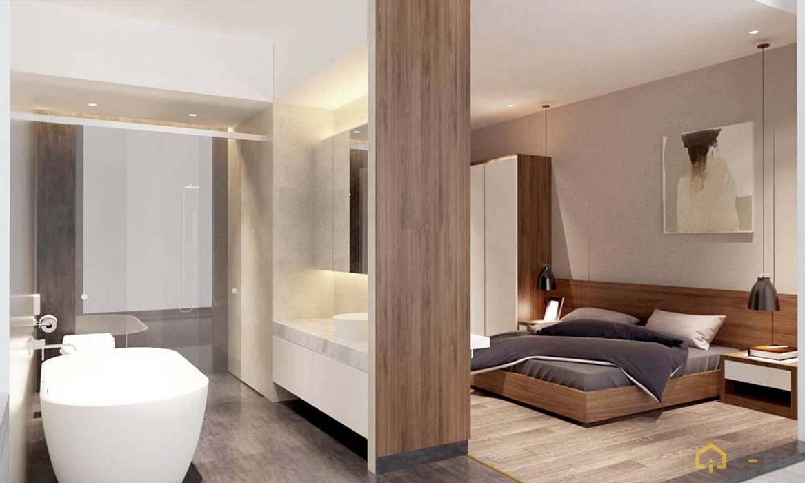 thiết kế nội thất phòng ngủ căn hộ sang trọng hiện đại Galleria Phòng ngủ phong cách hiện đại bởi nội thất căn hộ hiện đại CEEB Hiện đại