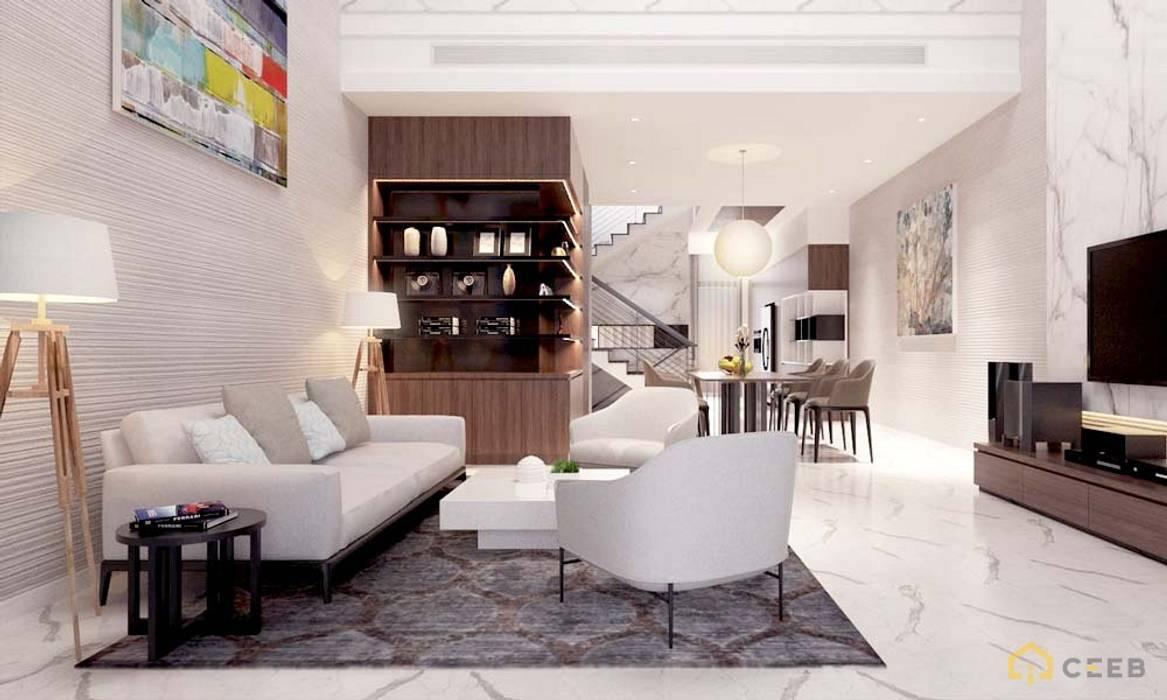 thiết kế nội thất phòng khách căn hộ sang trọng hiện đại Galleria bởi nội thất căn hộ hiện đại CEEB Hiện đại