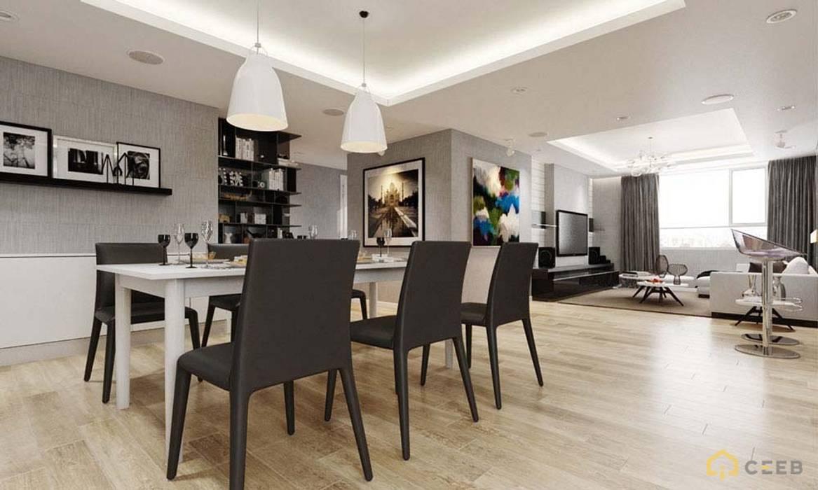 thiết kế nội thất phòng ăn căn hộ sang trọng Novaland Quận 2 Phòng ăn phong cách hiện đại bởi nội thất căn hộ hiện đại CEEB Hiện đại