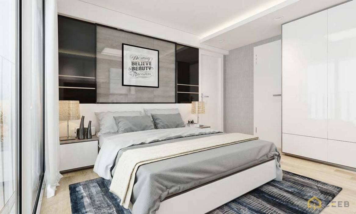 thiết kế nội thất phòng ngủ căn hộ sang trọng Novaland Quận 2 Phòng ngủ phong cách hiện đại bởi nội thất căn hộ hiện đại CEEB Hiện đại