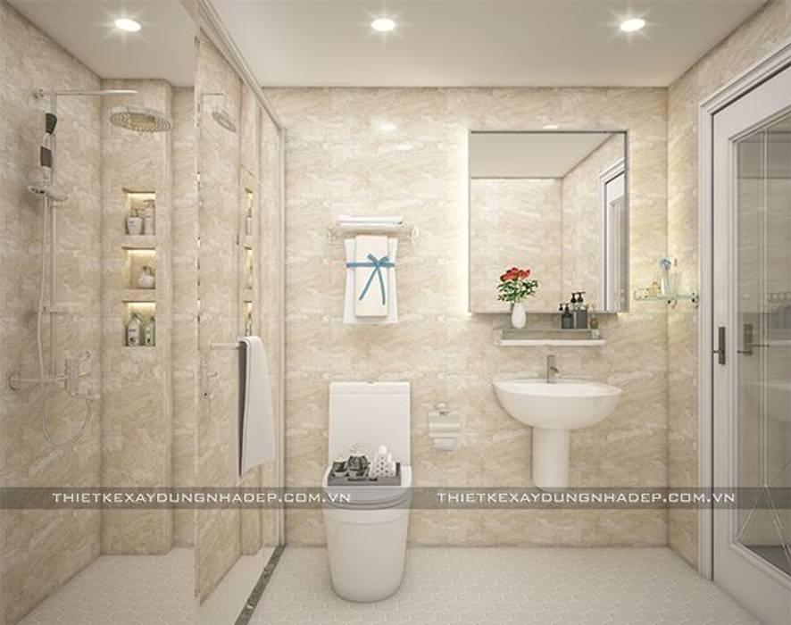 Mẫu nhà đẹp 3 tầng 5x12m đơn giản mà đẹp phù hợp với mọi gia đình:  Phòng tắm by Công ty cổ phần tư vấn kiến trúc xây dựng Nam Long, Hiện đại