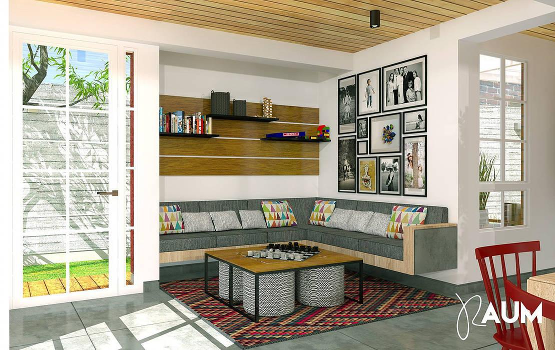 Sala Livings de estilo colonial de RAUM Estudio Colonial Madera Acabado en madera