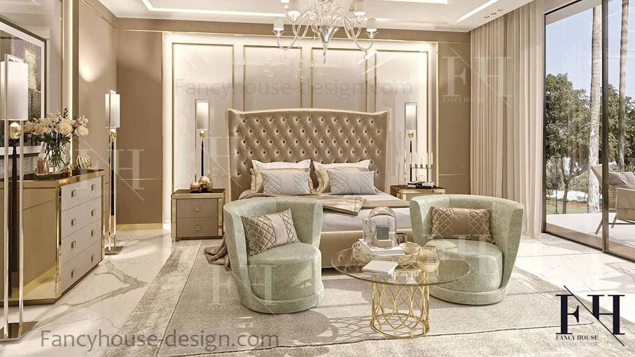 ​Luxury Master bedroom interior design in Dubai Eclectic style bedroom by Fancy House Design Eclectic Marble