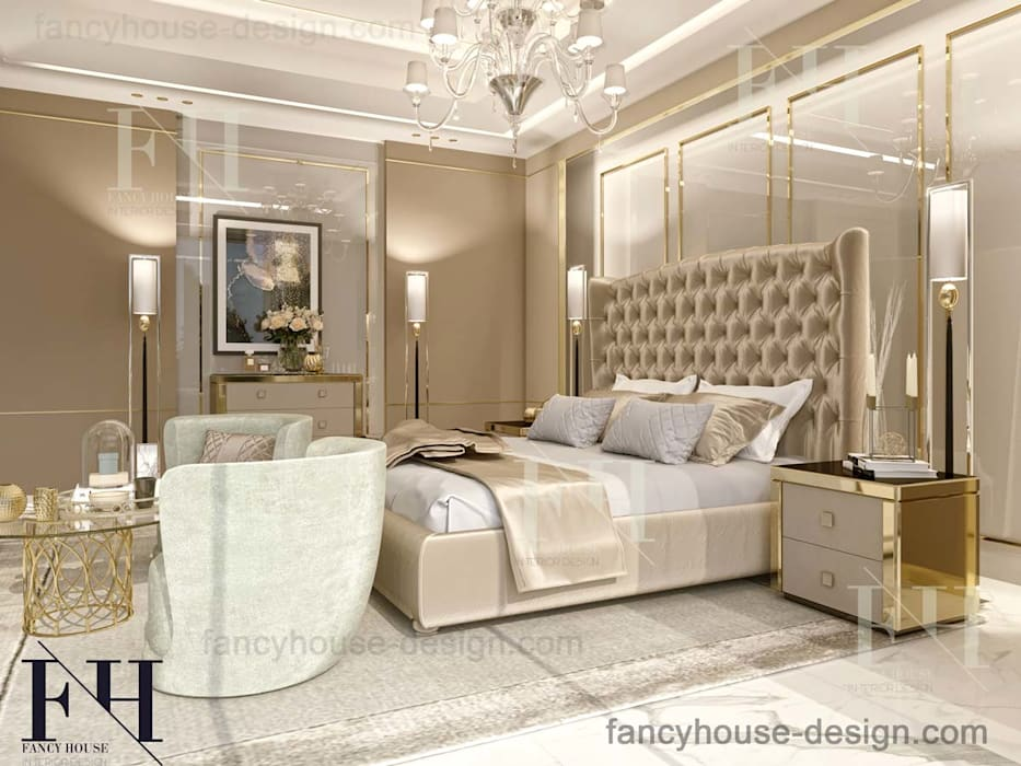 High-end bedroom interior design Modern Bedroom by Fancy House Design Modern Marble