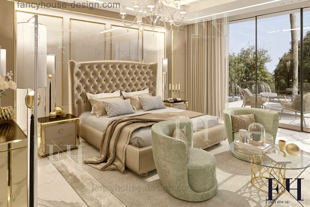 Bedroom interior design Eclectic style bedroom by Fancy House Design Eclectic Silver/Gold