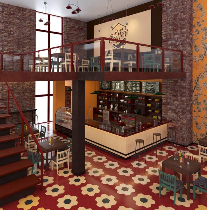 Diseño de café en la ciudad de cali.: Espacios comerciales de estilo  por Pragma - Diseño,