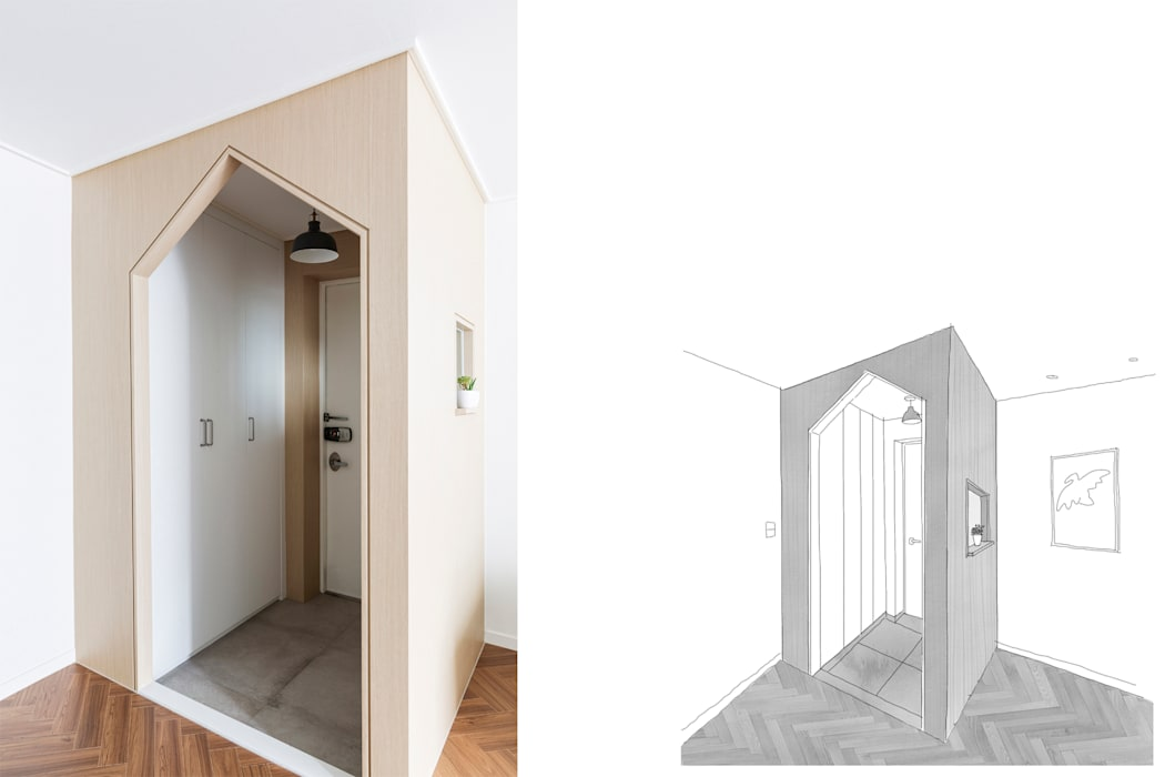 Corridor and hallway by 스튜디오쏭 (STUDIO SSONG), Modern