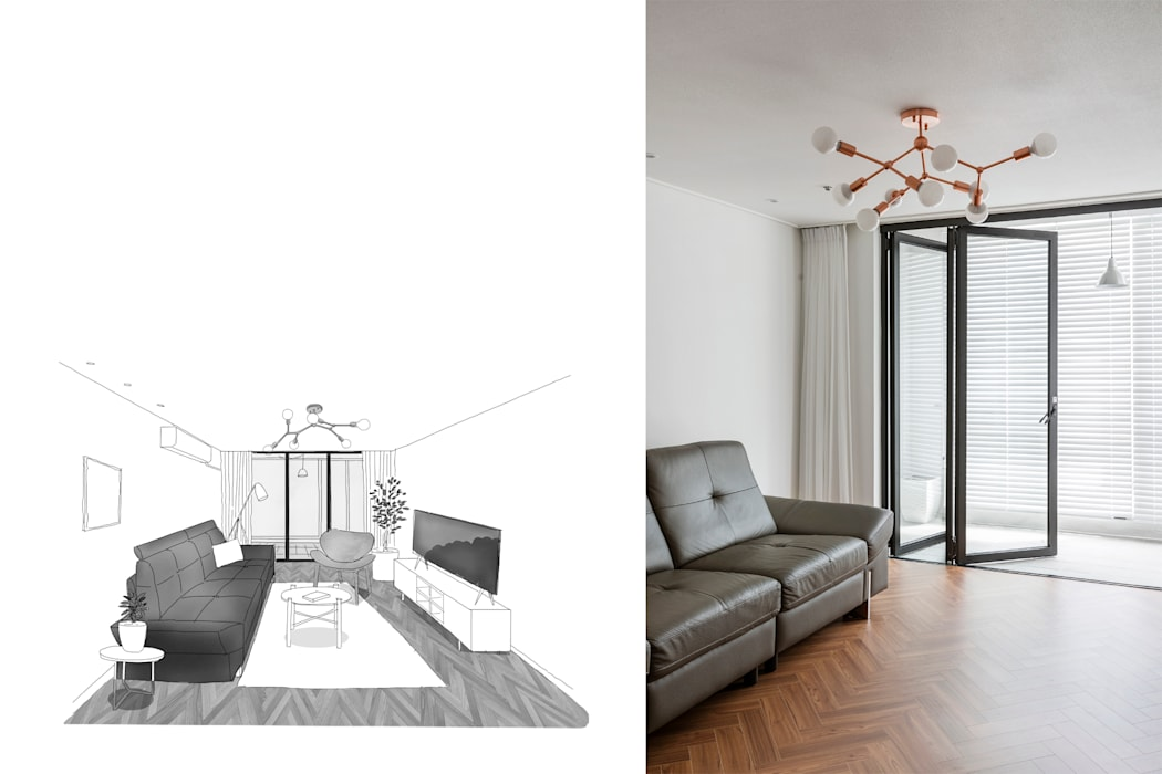 Living room by 스튜디오쏭 (STUDIO SSONG), Modern