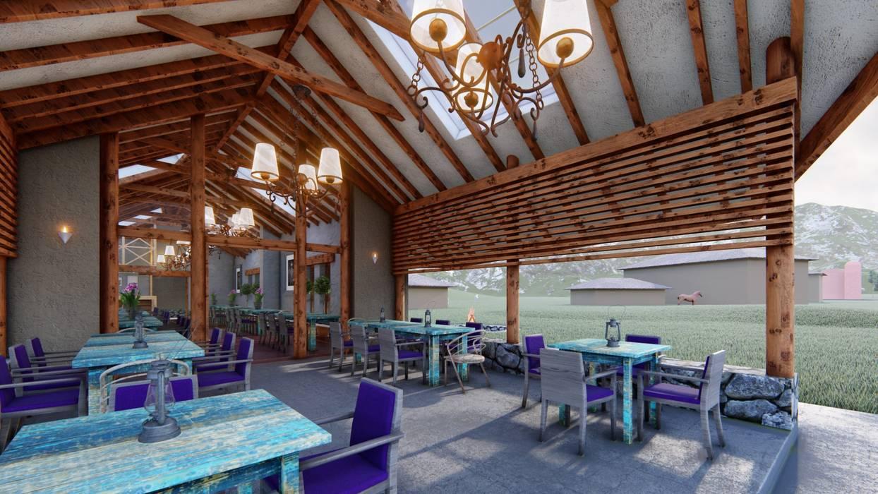 Porche Balcones y terrazas rústicos de FRANCO CACERES / Arquitectos & Asociados Rústico