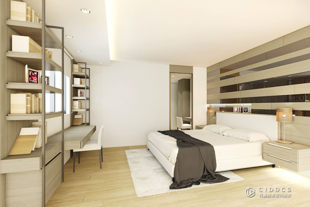 現代風格主臥室設計:  臥室 by 有關創意室內設計,