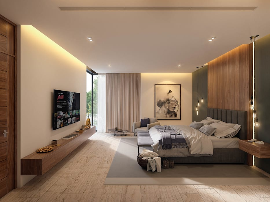 Casa CZ: Recámaras de estilo  por Álvarez Bernés Arquitectura,