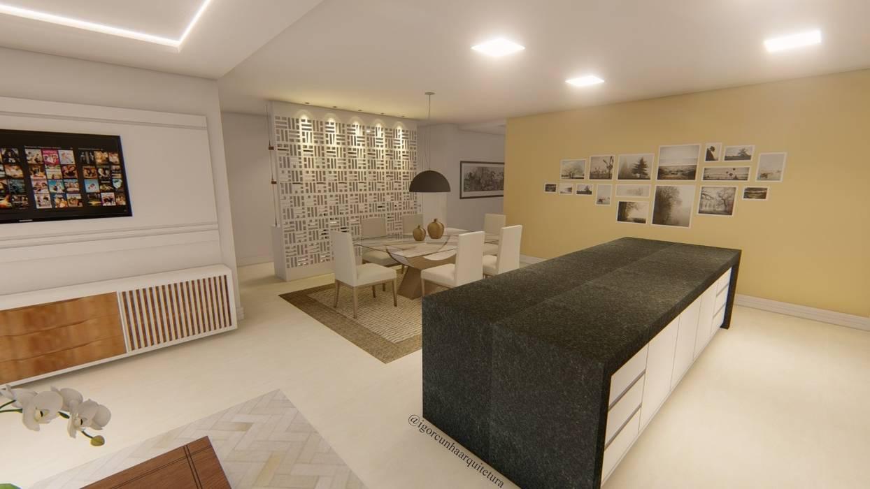 Cozinha em conceito aberto: Cozinhas embutidas  por Igor Cunha Arquitetura ,