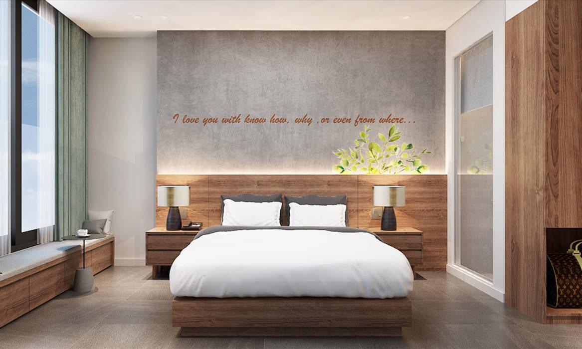 thiết kế nội thất phòng ngủ khách sạn hiện đại Thanhlong Phòng ngủ phong cách hiện đại bởi thiết kế khách sạn hiện đại CEEB Hiện đại