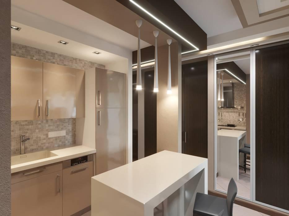 Интерьер трехкомнатной квартиры в г. Саратов. : Кухни в . Автор – F2project,
