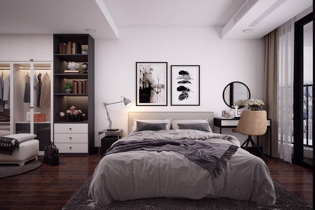 Thiết kế nội thất phòng ngủ chung cư 01 bởi Kiến trúc Doorway Bắc Âu OSB