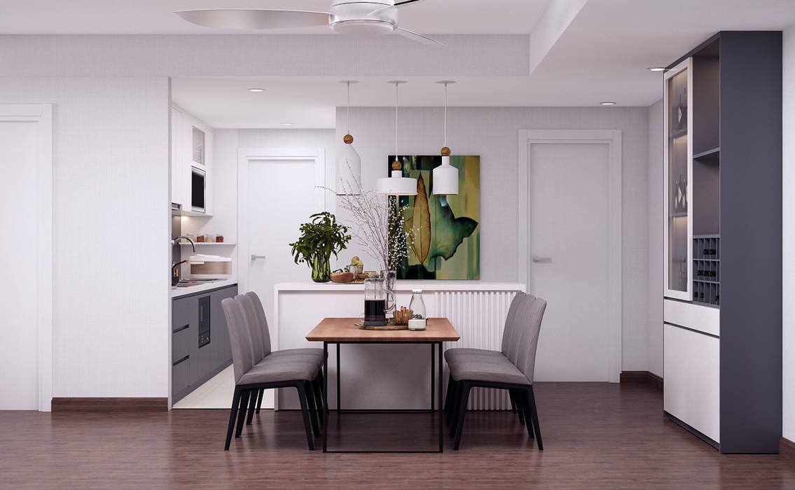 Thiết kế nội thất phòng bếp chung cư 02:  Phòng ăn by Kiến trúc Doorway