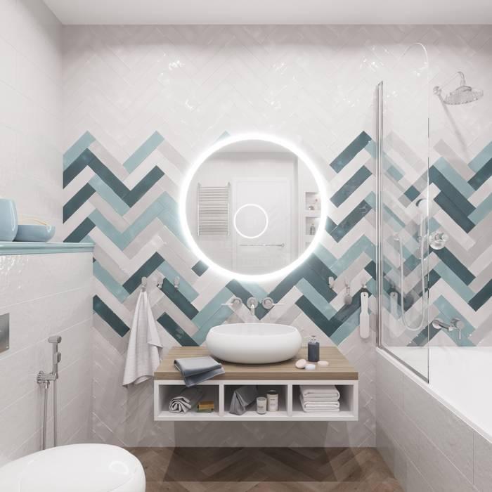 дизайн проект 2х комн.кв.: Ванные комнаты в . Автор – DIZ62, Скандинавский Плитка