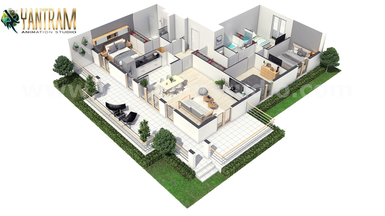 Modern House 3D Floor Plan Design with unique landscaping ideas by Architectural Rendering Companies, Milan – Italy by Yantram Architectural Design Studio Modern Bricks