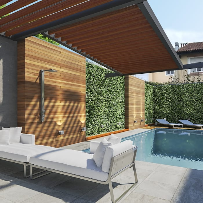 Piscina y parquizacion: Jardines de invierno de estilo  por laura zilinski arquitecta,Moderno