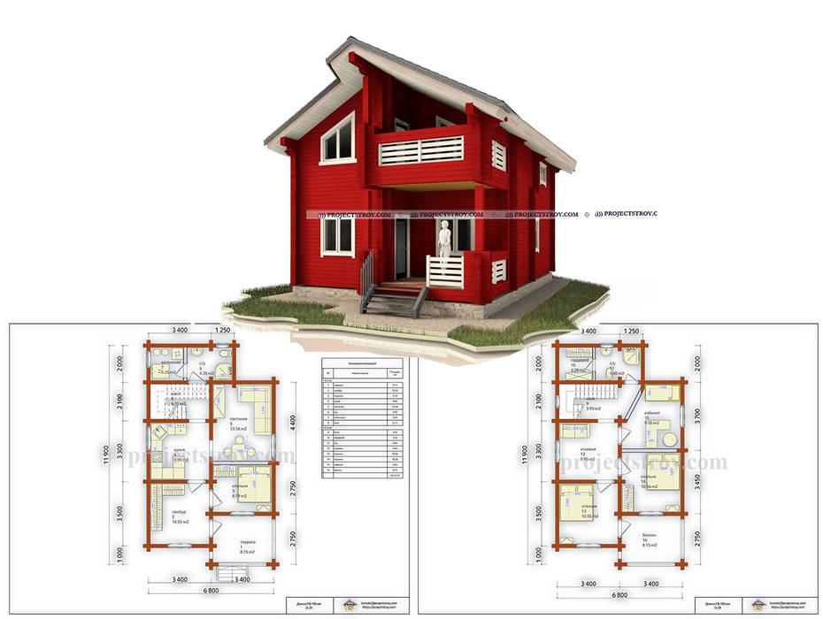 Wooden houses by Projectstroy, Scandinavian Wood Wood effect