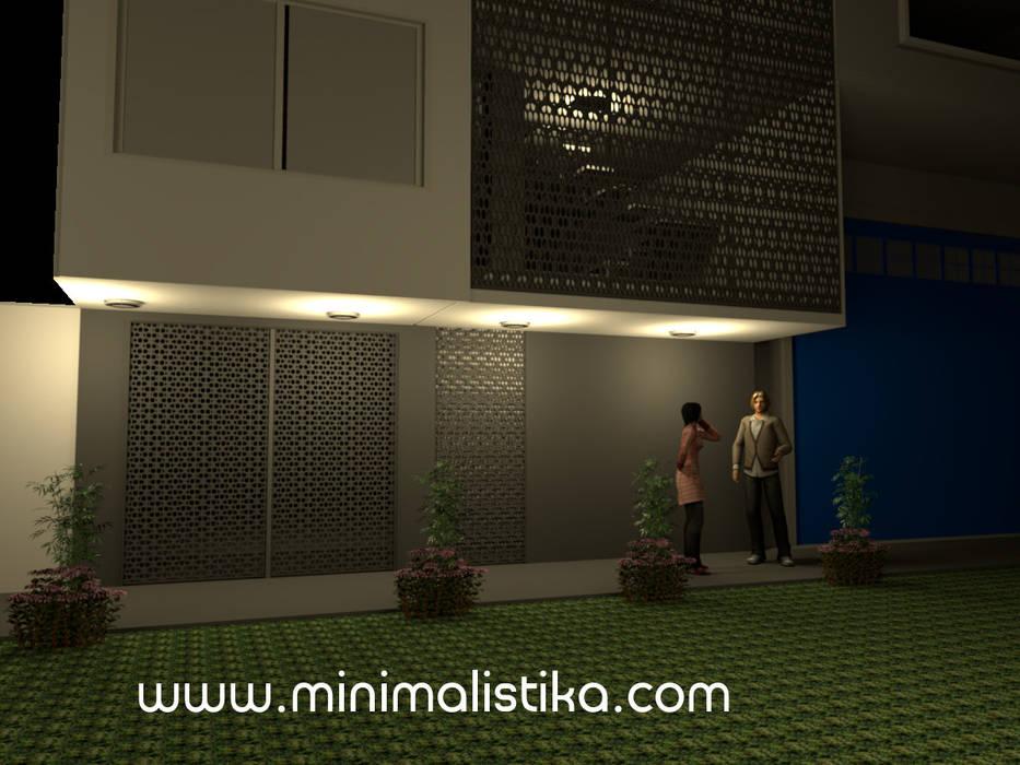 Diseño de Fachada Minimalista Edificio SMP: Casas multifamiliares de estilo  por Minimalistika.com, Minimalista Metal