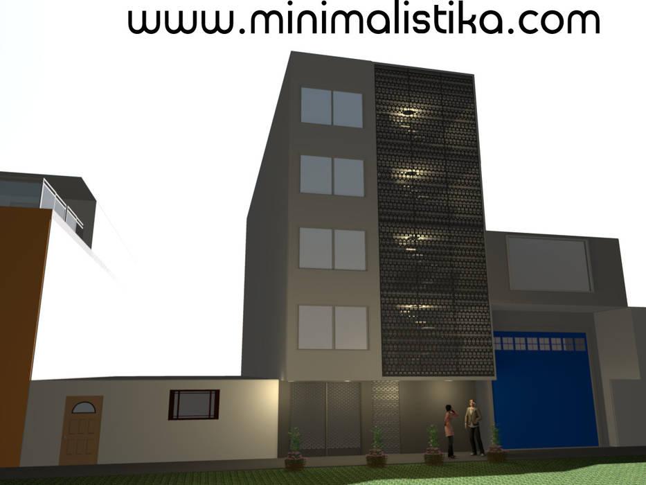 Diseño de Fachada Minimalista Edificio SMP: Casas de estilo  por Minimalistika.com, Minimalista Metal
