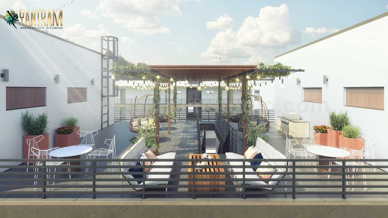 Gorgeous Roof Top Architectural Exterior Rendering Service by Architectural Animation Services, New York:  Roof by Yantram Architectural Design Studio, Modern Bricks
